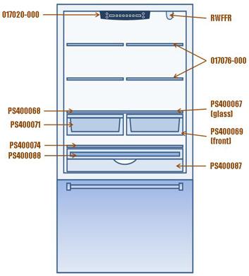 Viking Refrigerator Interior Shelves Drawers Deli Lid